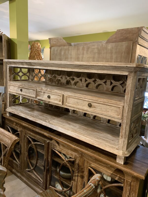 3 Drawer Open Console - White Wash
