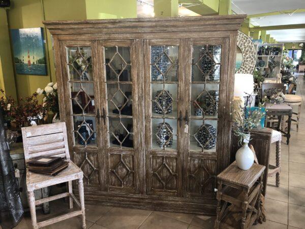 Aqua 4-Door Cabinet - Pecan