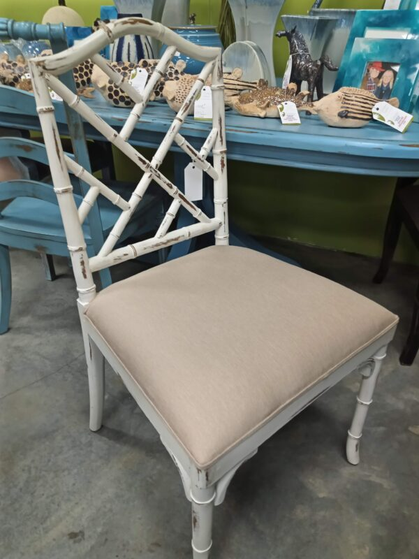 Bamboo Side Chair - White Rub