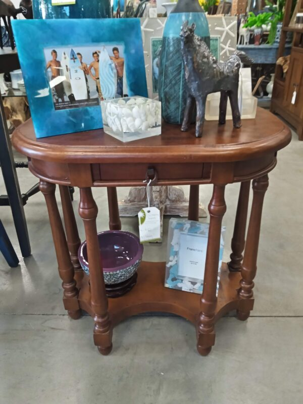Oval Side Table with 1 Drawer - Medium Brown