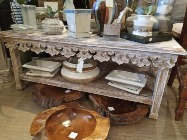 Carved Coffee Table - White Wash