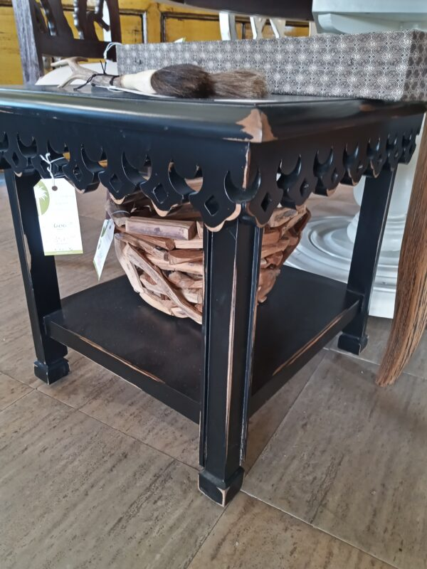 Carved Side Table - Black Electric