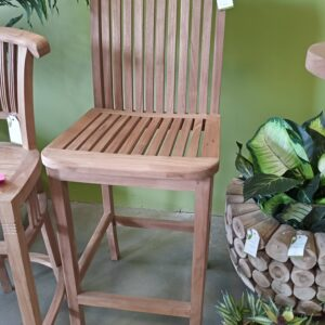 Teak Oval Top Bar Stool