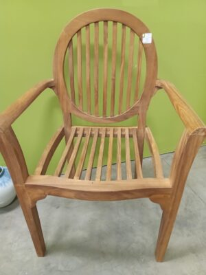 Teak Stacking Oval Arm Chair