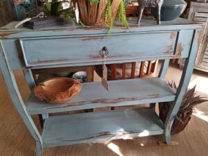 Narrow S-Leg Side Table - Ocean Blue