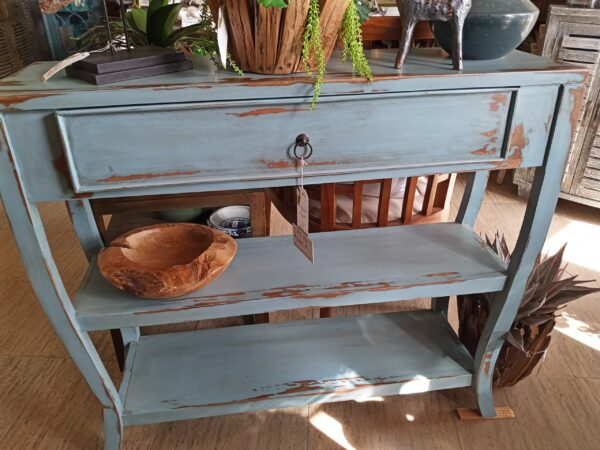Narrow S-Leg Side Table - Ocean Blue