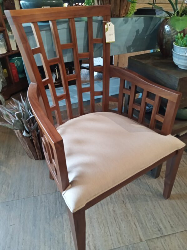 "Window Pane ""Tomy"" Arm Chair - Medium Brown"