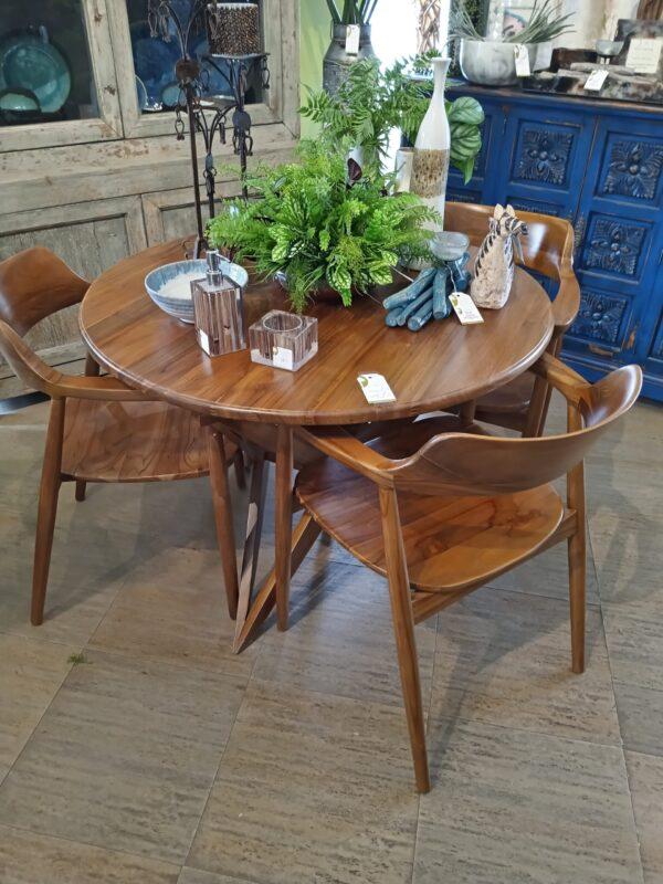 Ahzi Table & 3 Chairs Set - Medium Brown