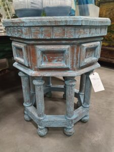 Octagonal Side Table - Blue Wash
