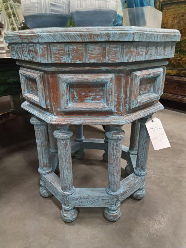 Octagonal Side Table - Blue Wash