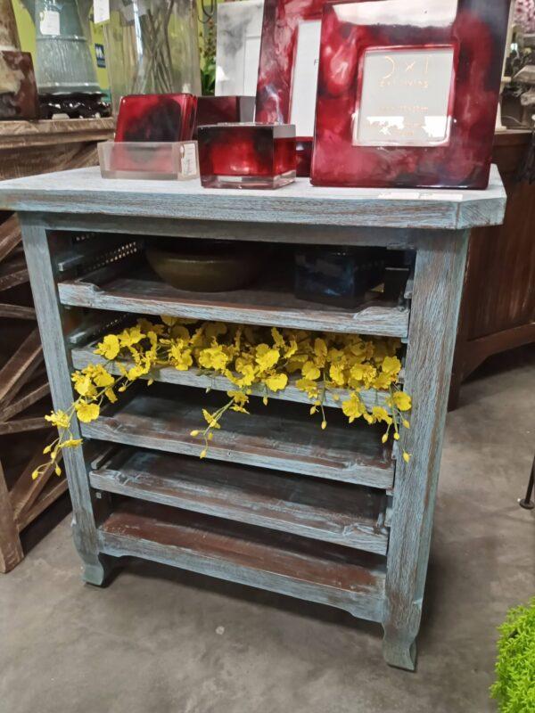 4-Shelf Side Table - Blue Wash