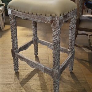 Barley Twist Bar Stool - White Wash