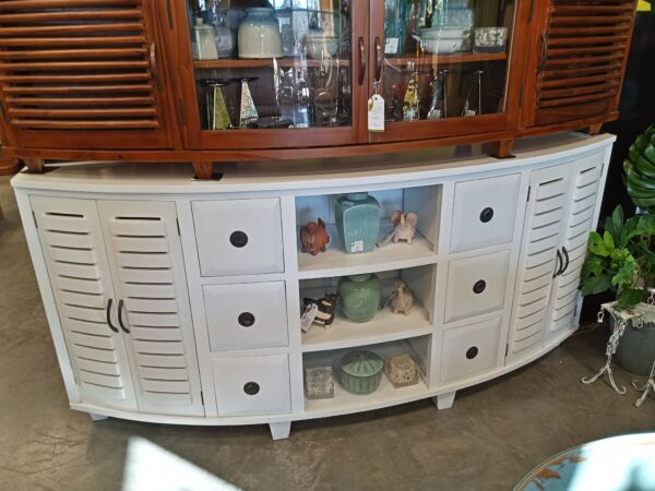 Half Moon Console - 6.5ft - Solid White