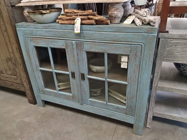 Ming Small Media Cabinet - Blue Wash