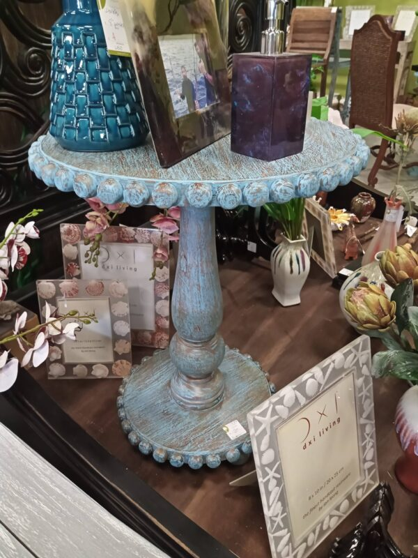 Bevel Lamp Table - Blue Wash