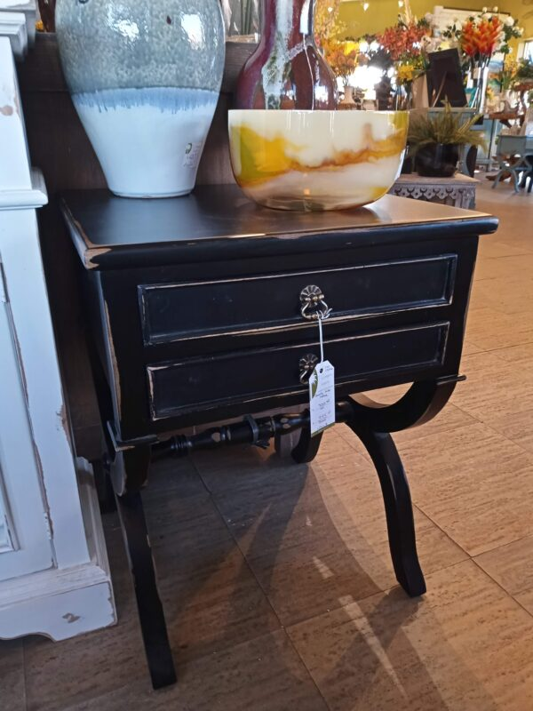 Canoli Side Table - Black Electric