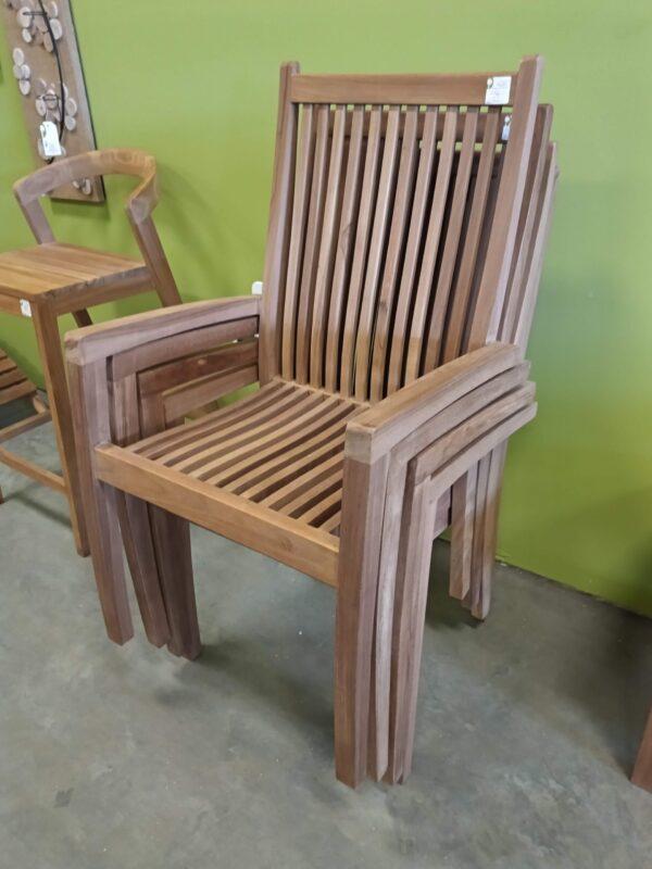 Techo Stacking Teak Arm Chair