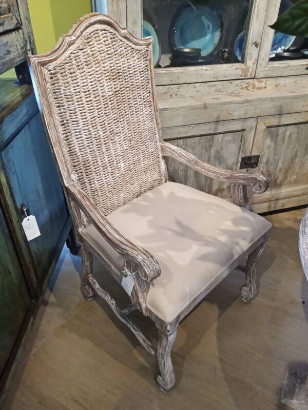 Batik Dining Arm Chair - White Wash