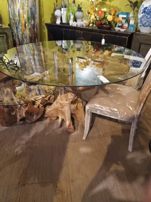 Teak Root Glass Top Dining Table