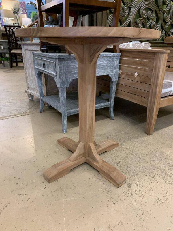 Pedestal Teak Round Bar Top Table