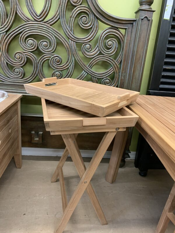 Teak 3pc Folding Tray Set