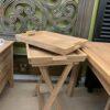 Teak 3pc Folding Tray Set