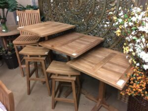 Pedestal Teak Tables