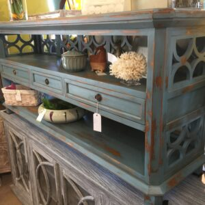 3 Drawer Open Console - Ocean Blue