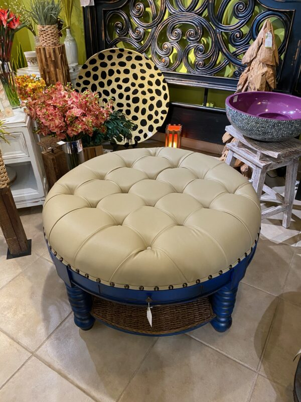 Ottoman with Cushion and Drawer - Electric Blue