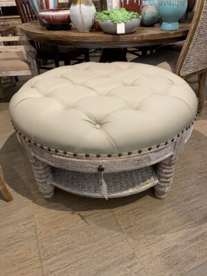 Ottoman with Cushion and Drawer - White Wash