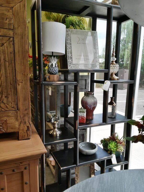 Asian Open Asymmetrical Bookcase - Black Electric