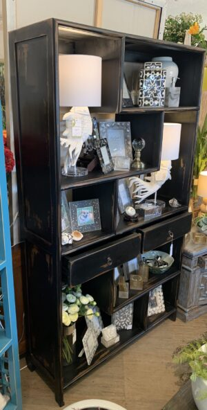 Open Bookcase with 2 Drawers - Black Electric