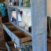 Open Bookcase with 6 Drawers - Blue Wash