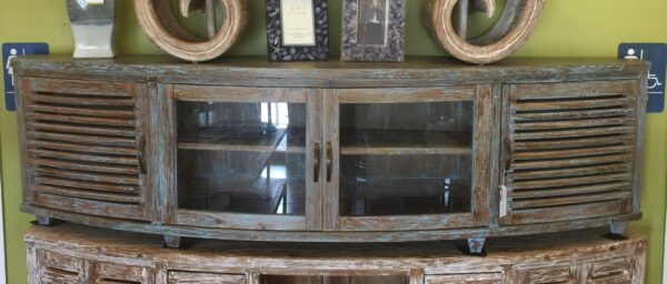 Samrong Half Moon Console - 6.5ft with Glass Doors - Blue Green